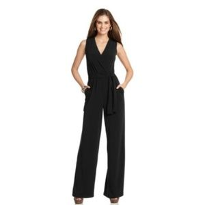 NY Collection Sleeveless Wide Leg Belted Jumpsuit